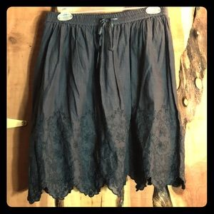 ANTHROPOLOGIE Fei Charcoal Cotton Lace Skirt NWOT